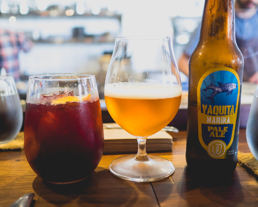 red sangria with seasonal fruit, hibiscus, star anise; vaquita marina pale ale from ensenada, mexico.