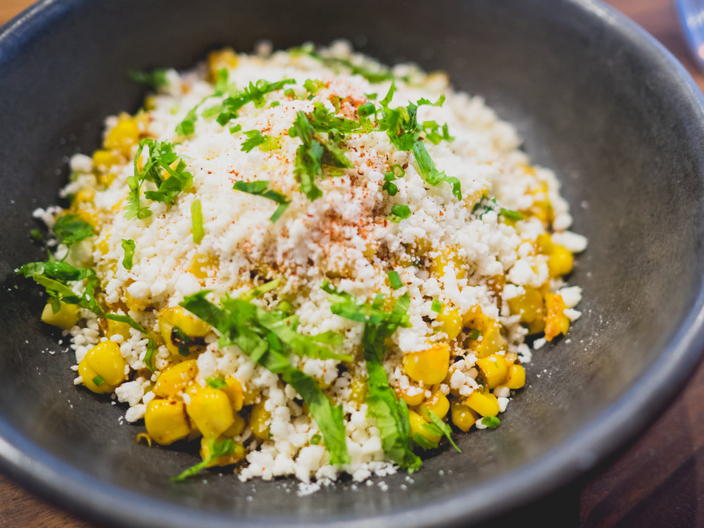 esquites: brentwood corn, corn butter, cotija, chile morita.