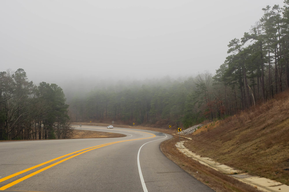 foggy arkansas mountain roads.
