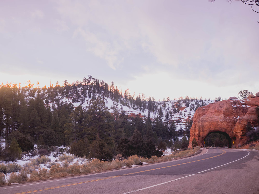 one of two tunnels in red canyon, leaving bryce canyon.