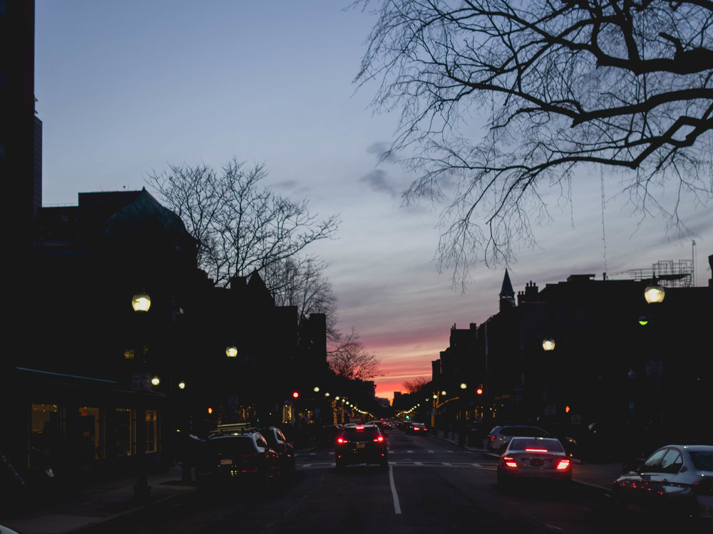 sunset, newbury street.