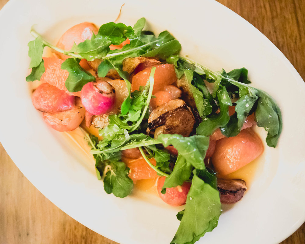 roasted radish, grapefruit, arugula, chili lime vinaigrette.