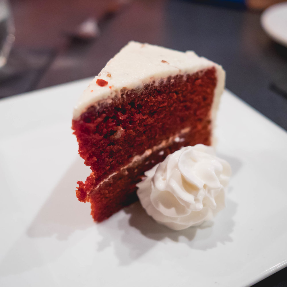 red velvet cake  with bourbon icing.