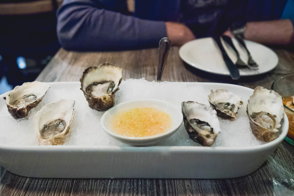 oysters with pear habanero relish.