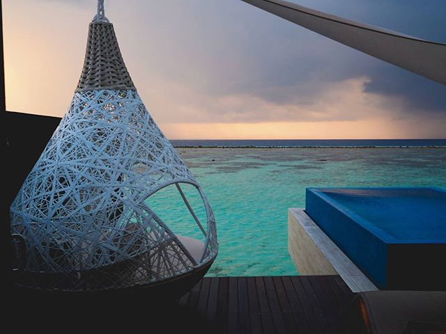 last morning in paradise. going to miss this view, but that's okay because we're off to part two of this vacation! #watervilla #sunrise #atoll #maldives #hammock #jennLAtravels #thatbluetho #sayonaraandthanks4allthefish