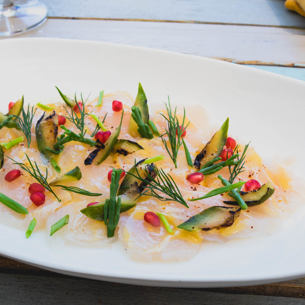 adult kingfish tiradito  with samphire, burn cucumbers, pomegranate, wild lime and tequila dressing.