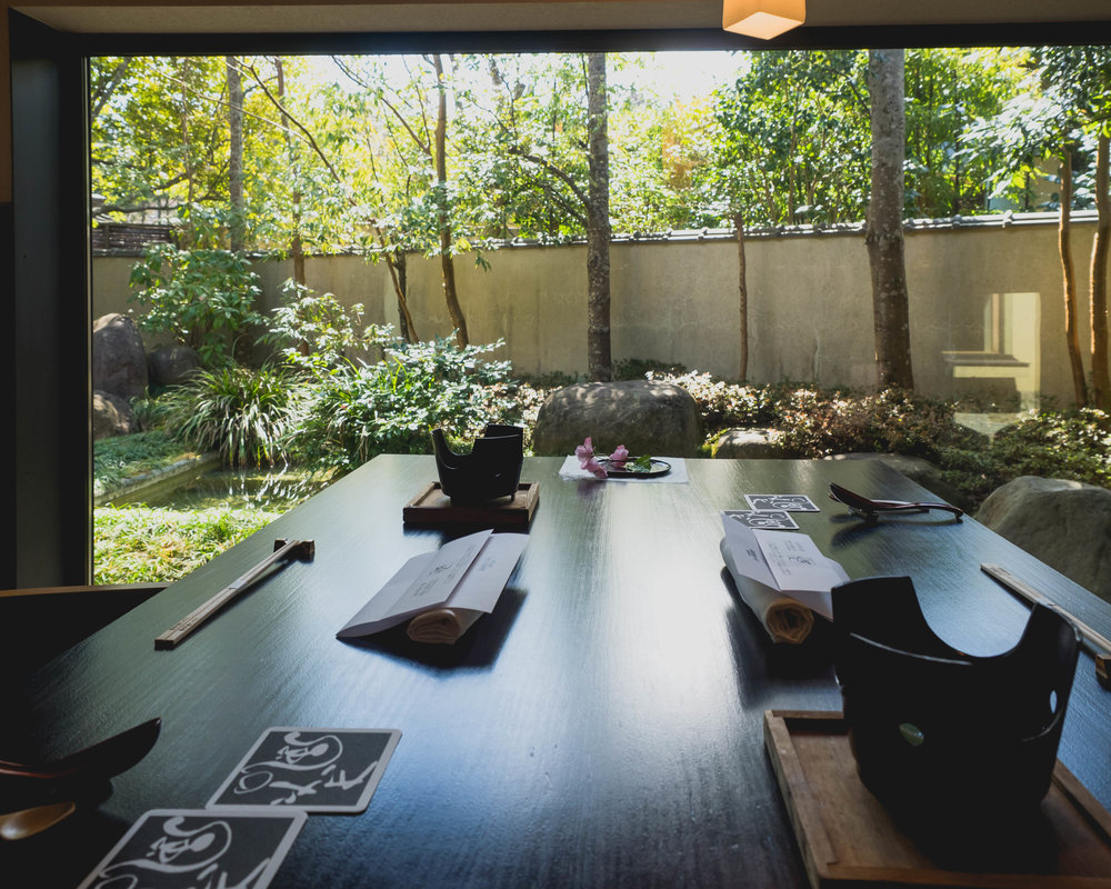 private dining room with a japanese garden view.