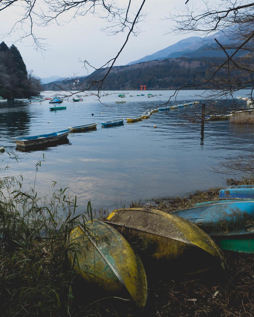 strolling along lake ashi.