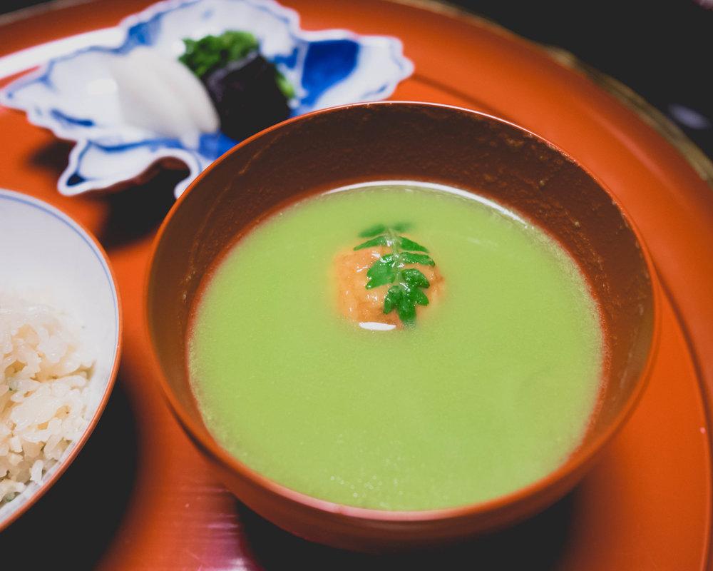 green pea soup , deep fried shrimp dumpling, udo stalk.