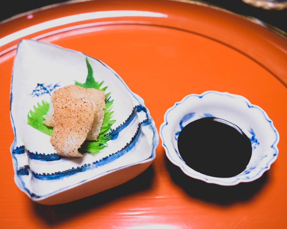 sashimi of cuttlefish ; entrails and soy-marinated egg yolk sauce.