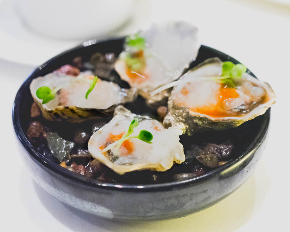 oysters  with celery harissa mignonette, daikon.