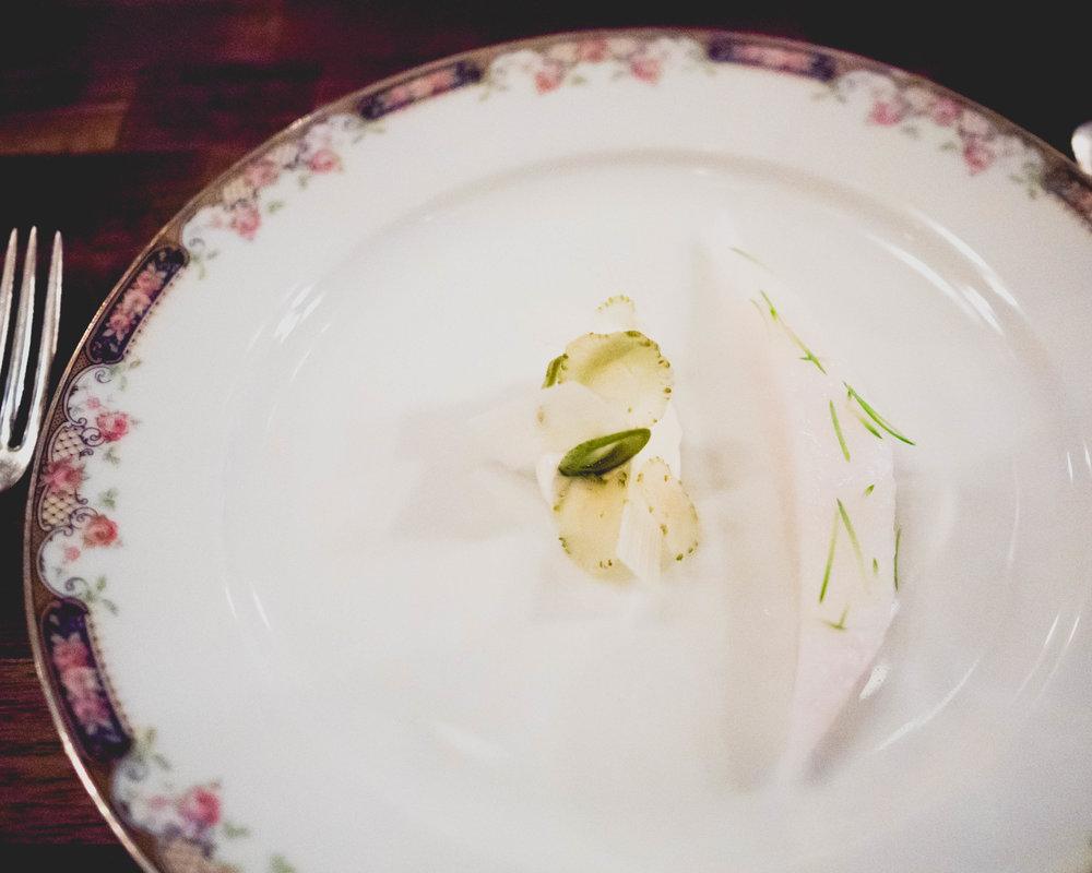 john dory, white asparagus, yogurt, blue spruce.