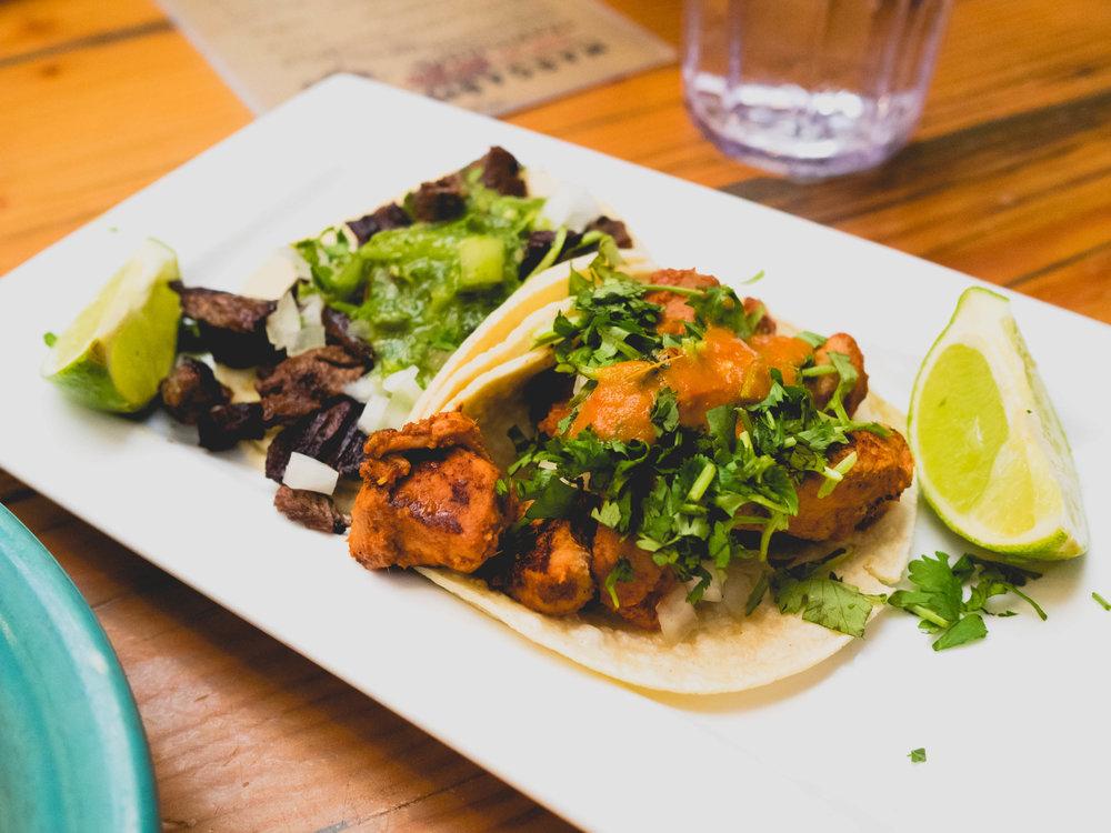 street tacos: grilled steak and al pastor.