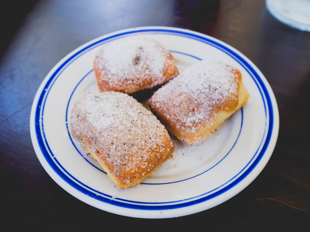 beignets  with cinnamon-coffee sugar.