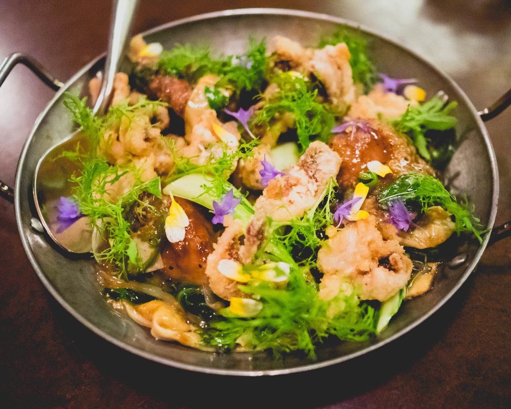 cumin lamb stir-fry  with dates, squid & peas.