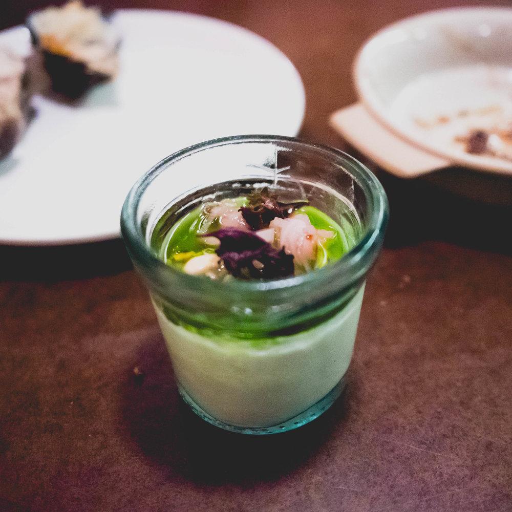 silken tofu  with pickled ramps, manila clams & aged tamari.
