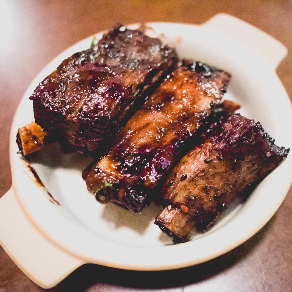 pork ribs  with black bean sauce & black garlic.