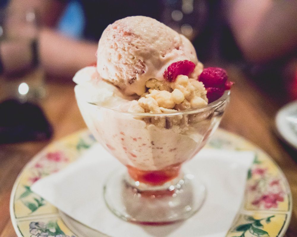 sundae: strawberry malt ice cream, malt crumble, fresh strawberries.
