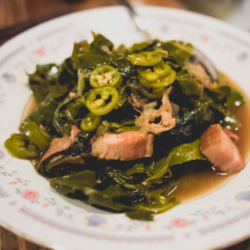 collard greens, ham hock, serrano pepper.