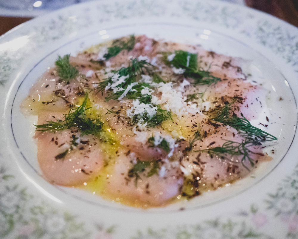 smoked yellowtail, horseradish cream, caraway, dill.