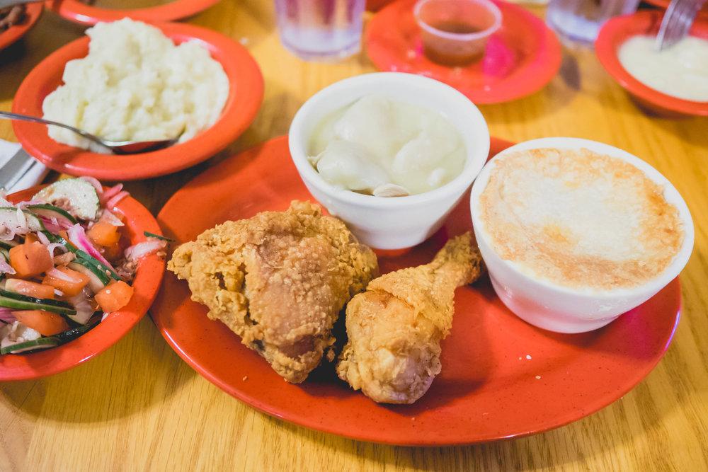 farmhouse trio  of fried chicken, chicken and dumplins and chicken pot pie.