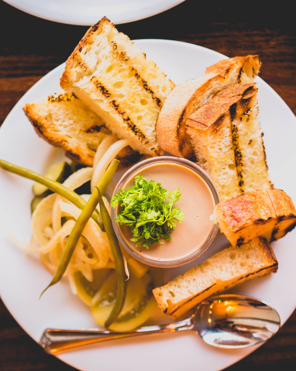 pate: chicken liver pate, grilled bread, house pickles, herbs.