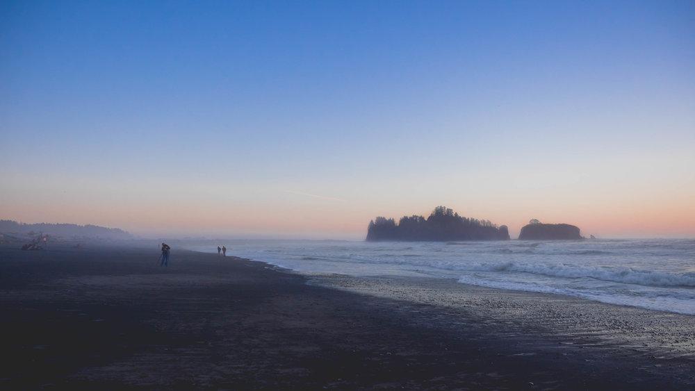 rialto beach at sunset.