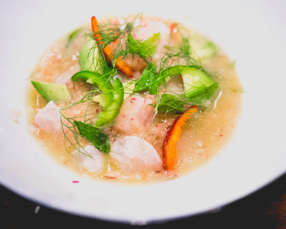 red snapper ceviche , blue masa, fennel, habanero, avocado.