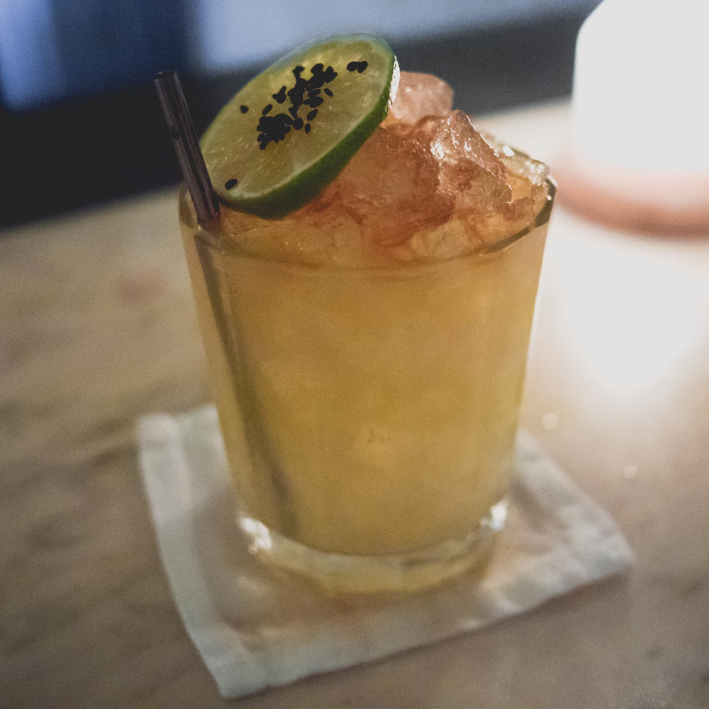 tiki styled : giner, yuzu, sesame, lime and rum.