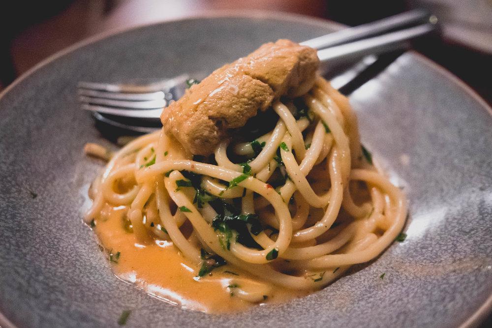 spaghettone al ricci di mare : santa barbara sea urchin, peperoncino, parsley.