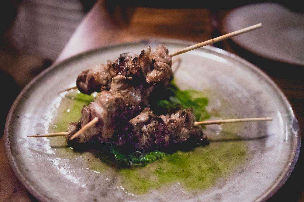 arrosticini : grilled lamb skewers & green garlic salsa verde.