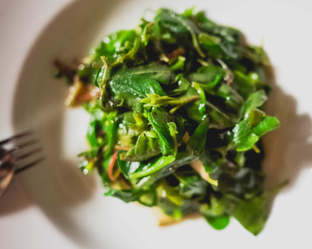 stir-fried australian native greens  with ginger & shiro shoyo.