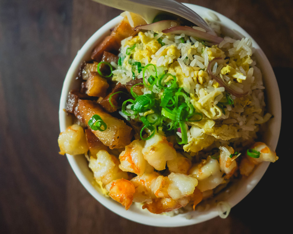 cantonese-style fried rice  with shrimp and pork belly.