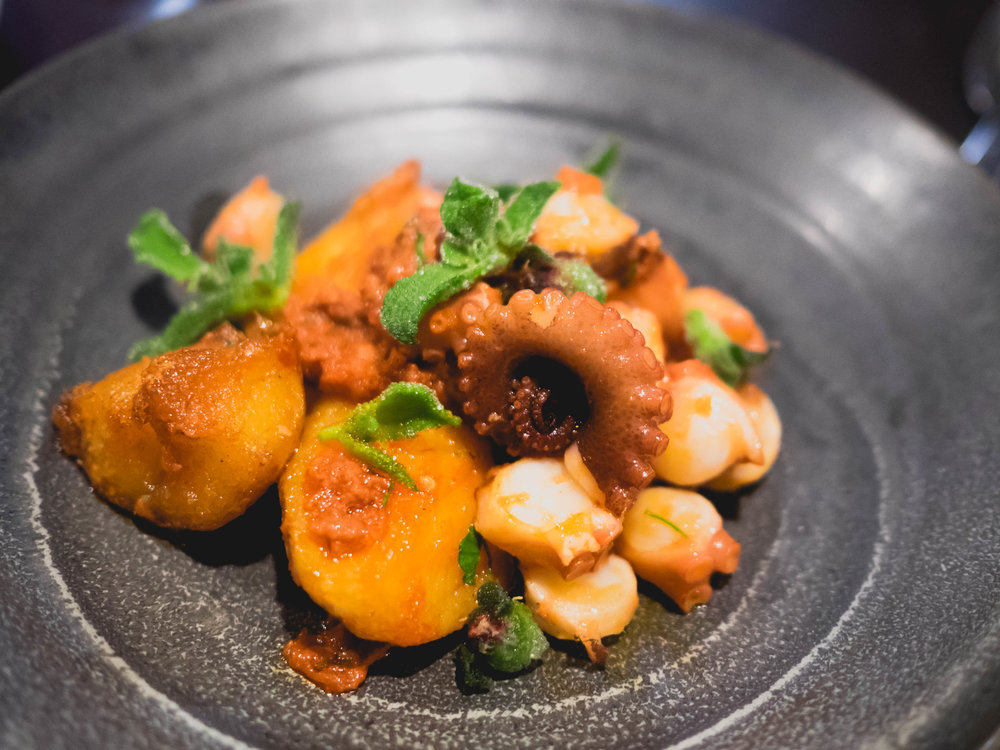 octopus, nduja, smoked potato .