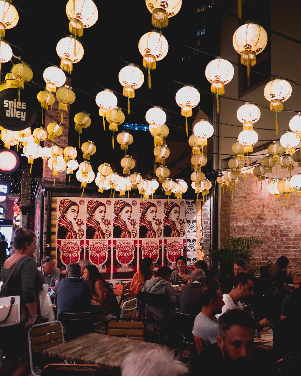 shepherd fairey and chinese lanterns.