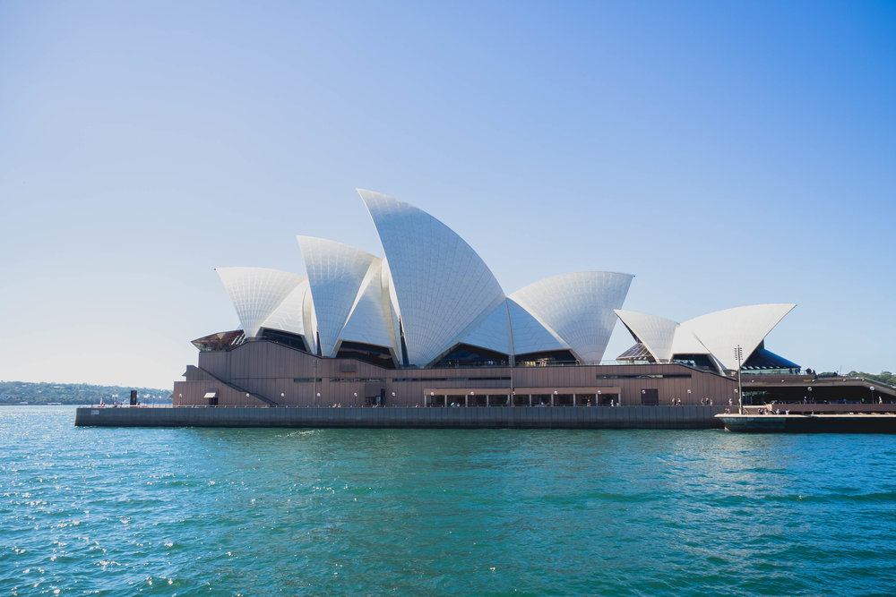 sydney opera house from a ferry.