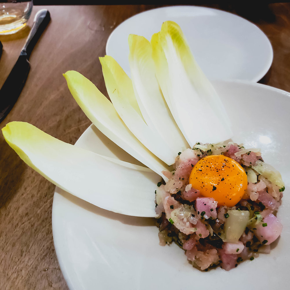 raw diced mooloolaba albacore , broadbill, sour onion, egg yolk.