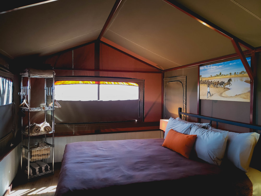 inside the air conditioned tent.