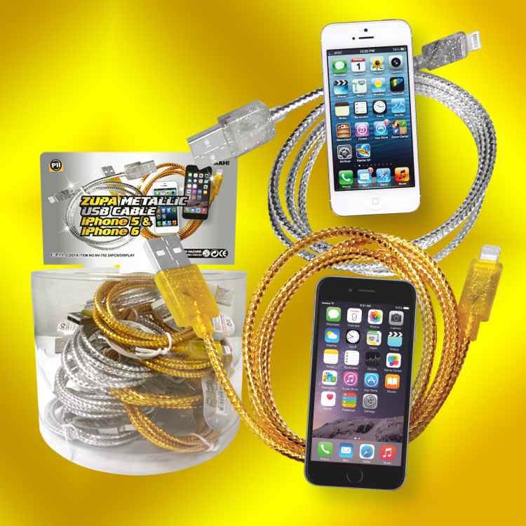 Metallic I-phone 5 & 6 charge cords - 24 per display