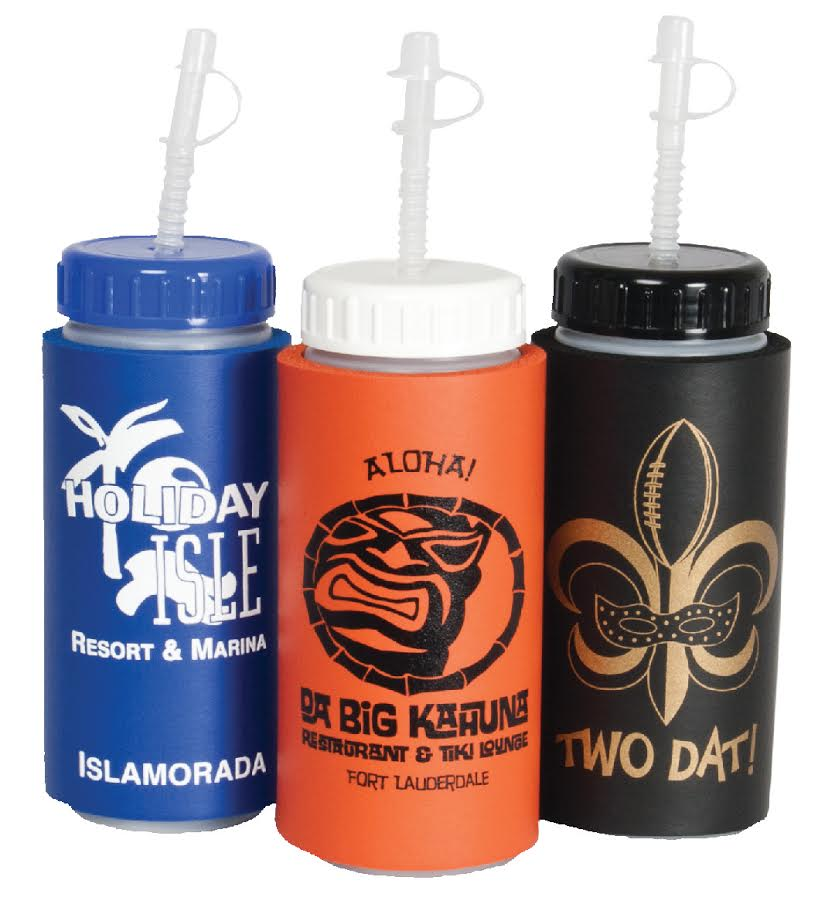 16oz Sports Bottle With Foam Sleeve : 144 minimum (72/case) $2.00  One Color, One or Two Sided print Included  Many Lid options, Ink Colors, and Foam Sleeve colors!