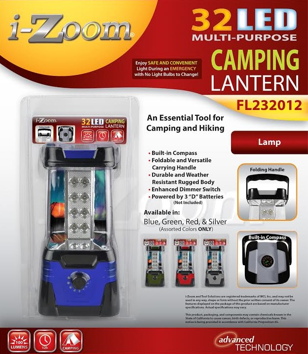 Lantern : 32 LED : 100 LUMEN Lantern : AVAILABLE IN Blue, Green, Red, Silver (12/case)