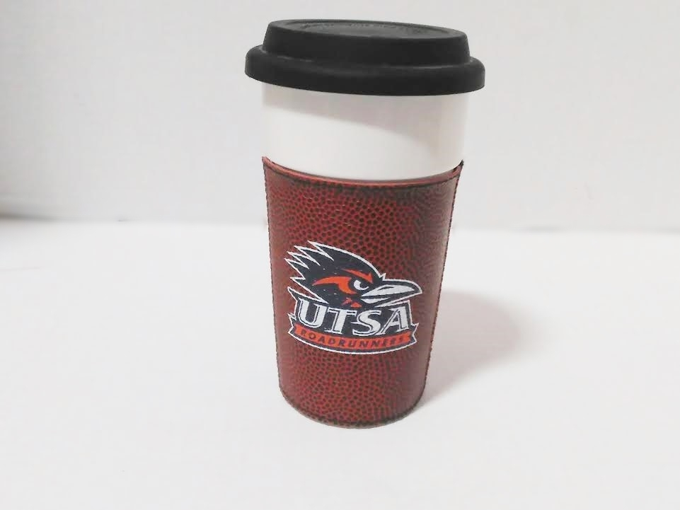 UTSA ROADRUNNER DOUBLE WALL COFFEE CUP WITH RUBBER LID 16 OZ