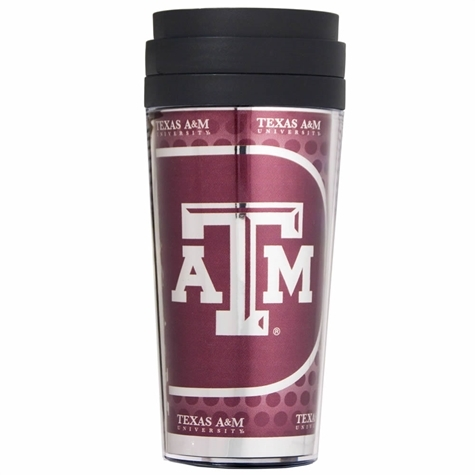 TEXAS A&M ACRYLIC TRAVEL TUMBLER WITH METALLIC INSERT