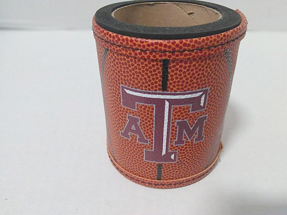 TEXAS A&M BASKETBALL LEATHER LIKE KOOZIE
