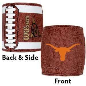 LONGHORNS: LEATHER LIKE FOOTBALL KOOZIE