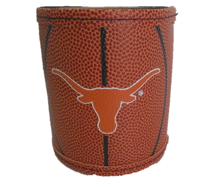 LONGHORNS: LEATHER LIKE BASKETBALL KOOZIE
