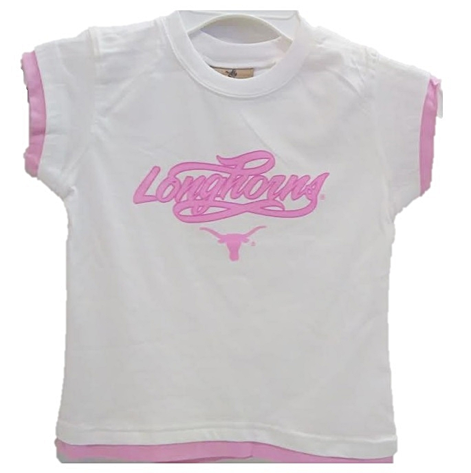 LONGHORNS: WHITE T-SHIRT S/S  WITH PINK LETTERING- GIRLS  LIMITIED QUANTITIES AVAILABLE