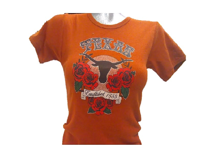 LONGHORNS: SCHOOL LOGO WITH ROSES S/S SHIRT- GIRLS LIMITED QUANTITES AVAILABLE