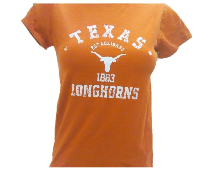 LONGHORNS: ORANGE S/S T-SHIRT  ESTABLISHED 1883- lADIES LIMITED QUANTITIES AVAILABLE