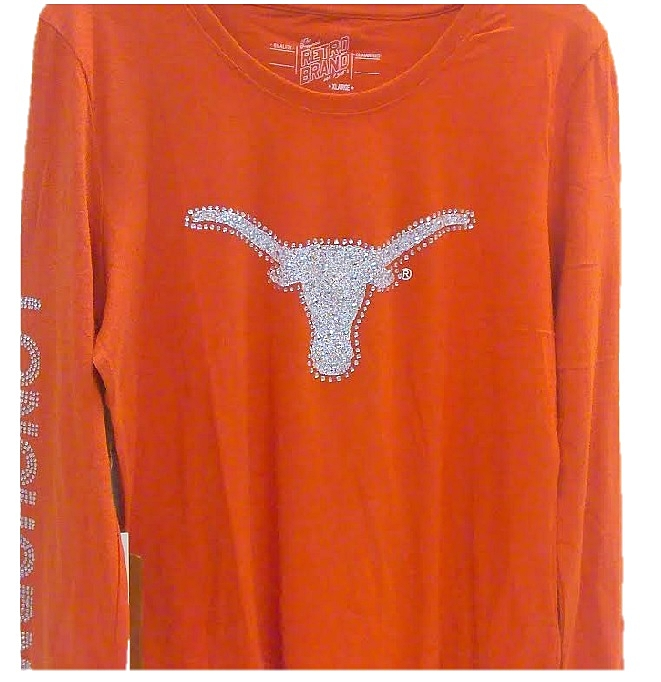 LONGHORNS: ORANGE L/S T-SHIRT BLING LOGO ON FRONT & LONGHORNS ON SLEEVE- LADIES SIZES M/L/XL LIMITED QUANTITIES AVAILABLE